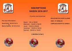Inscriptions saison 2016/2017 et permanences