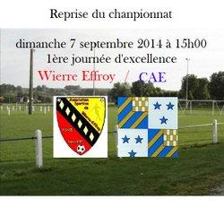 Dimanche 07 septembre à 15h00 Reprise du championnat Excellence