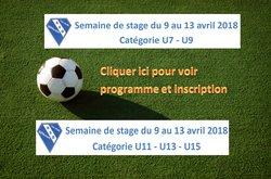 Stages printemps: catégories U7-U9 et U11-U13-U15