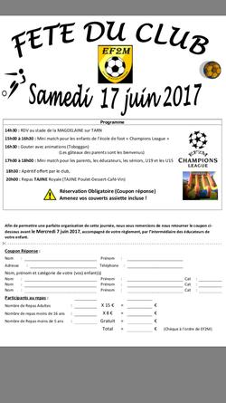 Fête du Club EF2M : samedi 17 juin 2017 à La Magdelaine sur Tarn