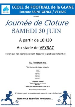 Journée de Cloture EFG 30/06/18 à 10h30 à Veyrac