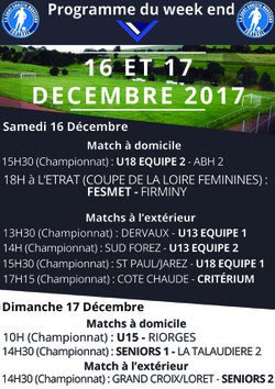 Programme du week-end - Entente Sportive Saint Christo Marcenod Football
