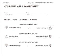 Tirage Coupe U15 - Entente Sportive du Château d'Olonne