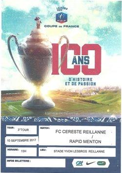 Affiche du match de coupe - FC CERESTE REILLANNE