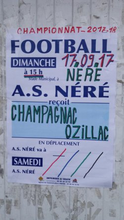 DEPLACEMENT DU 17/09/2017  A NERE - FOOTBALL CLUB OZILLAC/CHAMPAGNAC