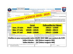 Les dates de permanences LICENCE 2018 - 2019 (Stades de Corzé & Pellouailles Les Vignes)