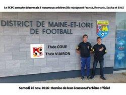 FÉLICITATIONS à Théo & Théo, nos 2 nouveaux ARBITRES OFFICIELS JEUNES