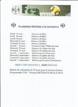 Planning reprise des U18  !!!! - Football Club des 3 Rivières