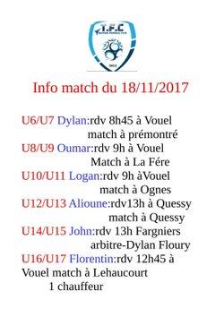 Match du 18/11/17 chez les jeunes - Tergnier Football Club