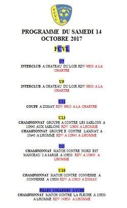 Programme du Samedi 14 Octobre - FC Val du Loir