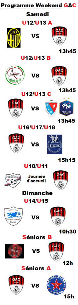 Programme du Weekend (15 et 16 Septembre 2018)