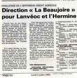 articles de presse des années 80 - Ecole de football de lanvéoc Sports