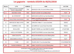 les gagnants de la tombola du 06/01/18 - Légion Saint Pierre