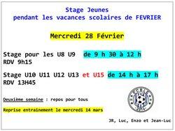 Stage Jeunes Vacances Février