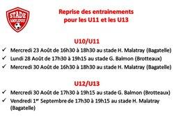 U11 et U13: reprise des entrainements
