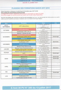 Planning des formations 2017/2018