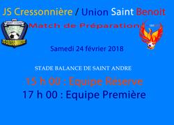 Match amical de cet après-midi pour l'USB - UNION SAINT BENOIT