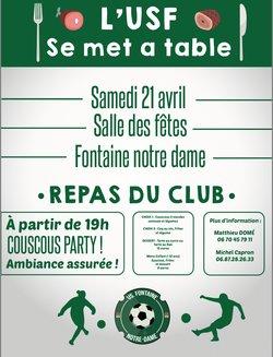 REPAS CLUB : Samedi 21 Avril 2018