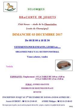 Brocante de jouets DIMANCHE 03 DECEMBRE 2017 de 08 H 00 à 18 H 30