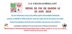 Rappel ! Inscrivez-vous pour le barbecue le 23 Juin ! - Union Sportive de Châteaumeillant