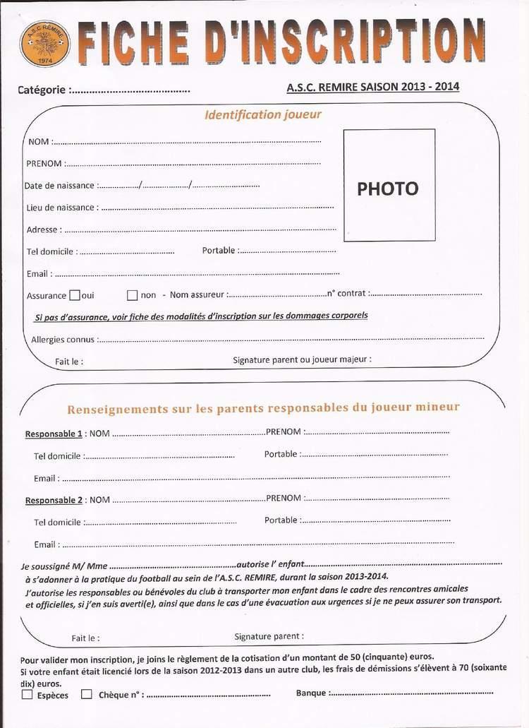 actualit demande d inscription 2013 2014 fiche