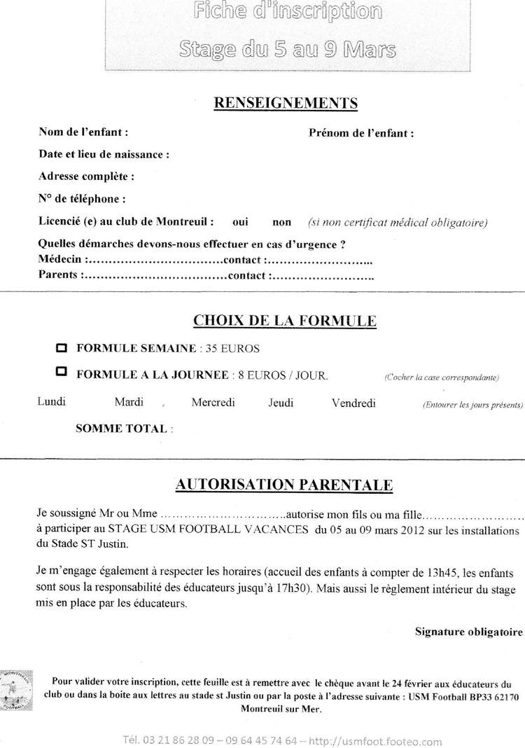 Actualit stage vacances fiche d 39 inscription club for Inscription d et co