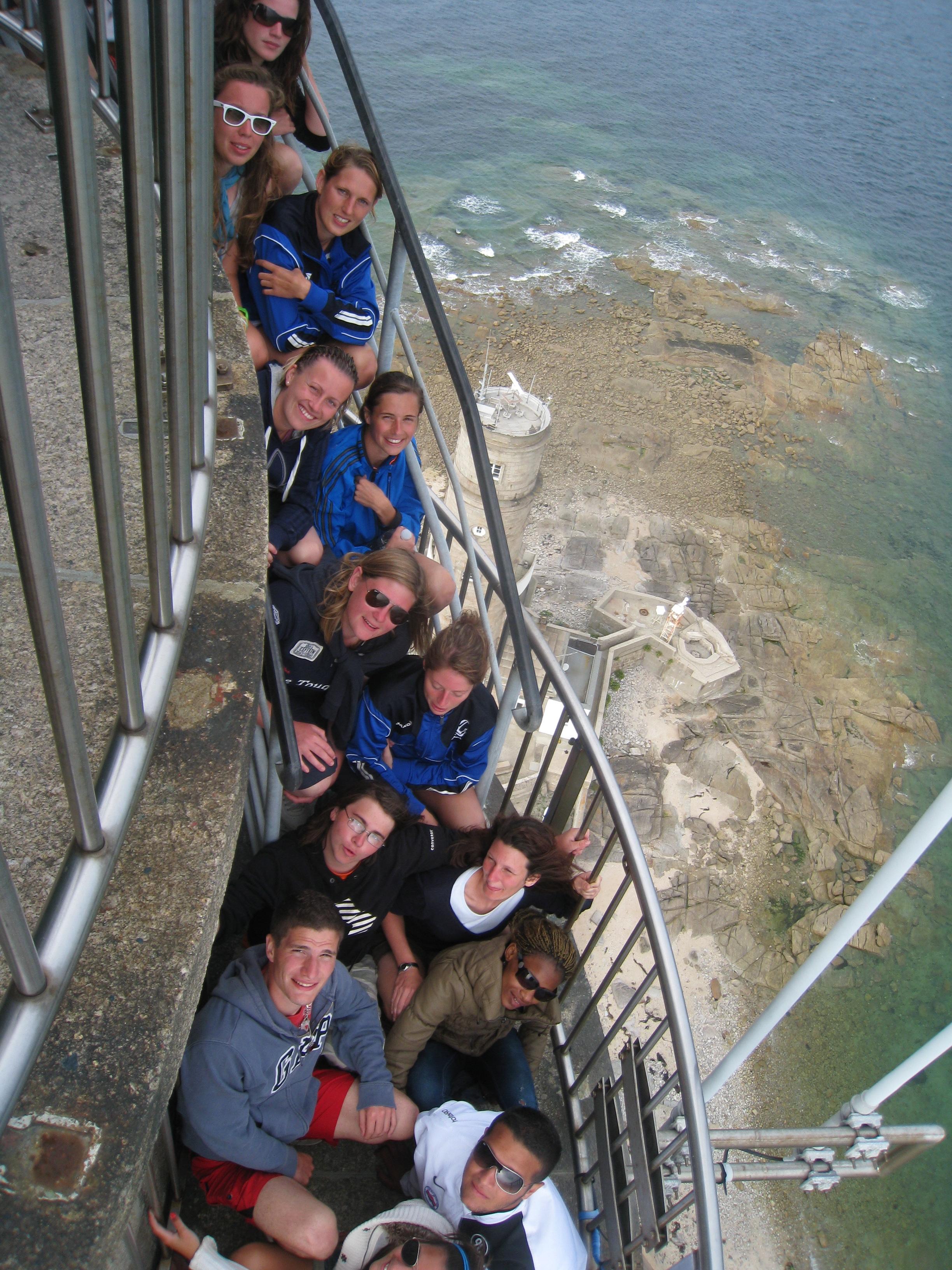 L'équipe en haut du phare de Gatteville