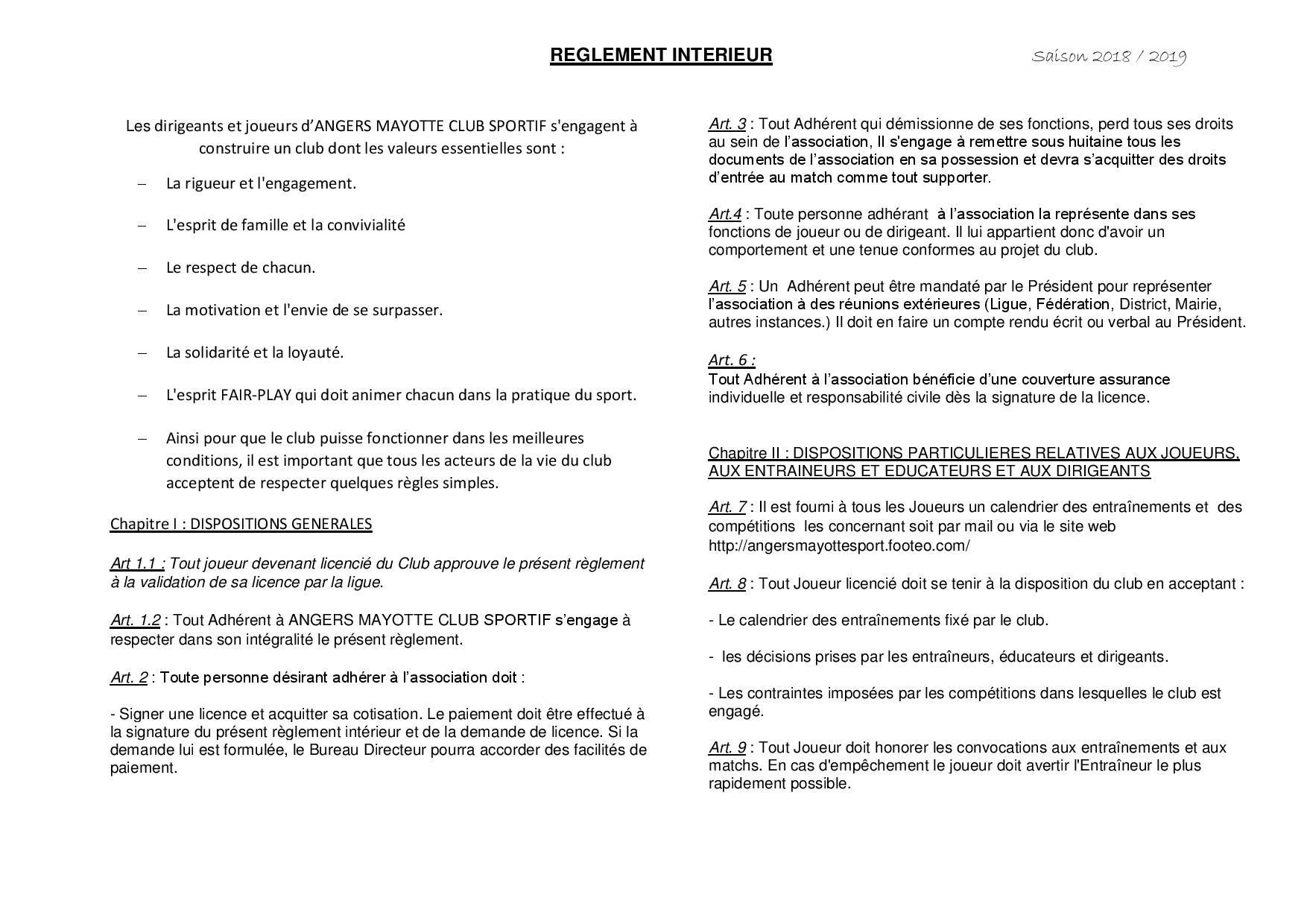 Règlement intérieur page 1