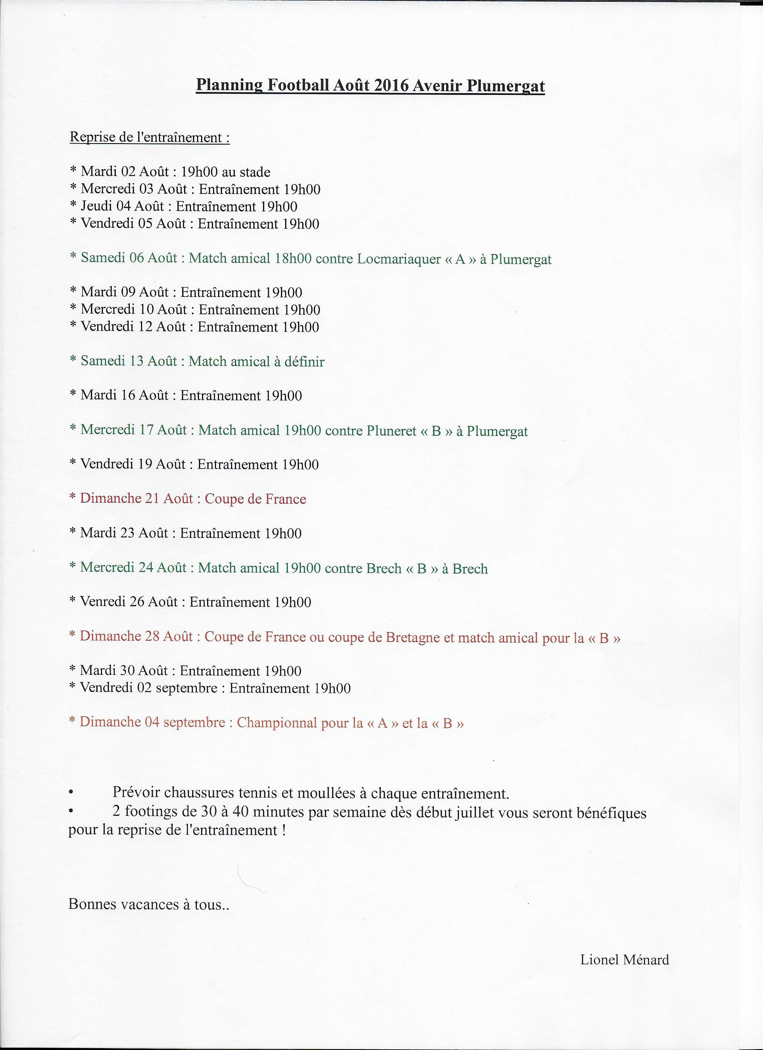 planning saison 2016/2017