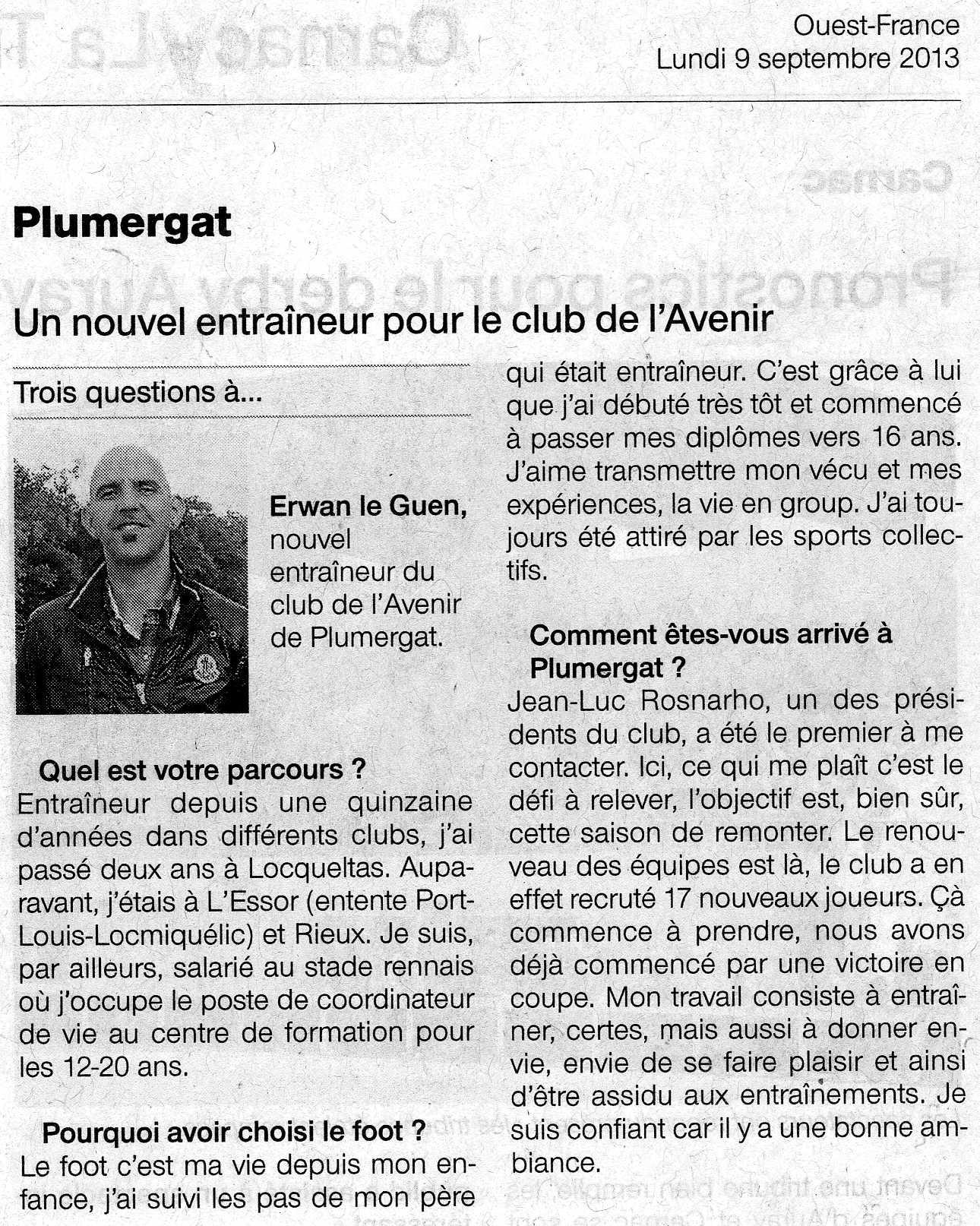 Ouest France Lundi 9 septembre 2013