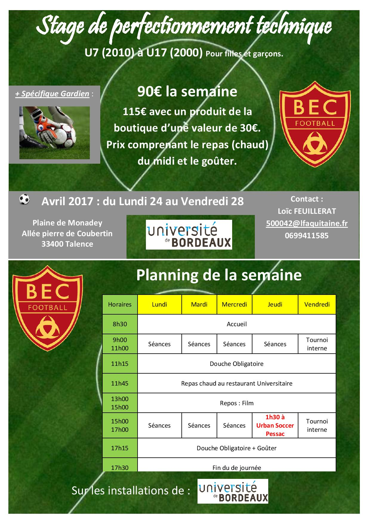 Bec Stage Foot Vacances avril 2017