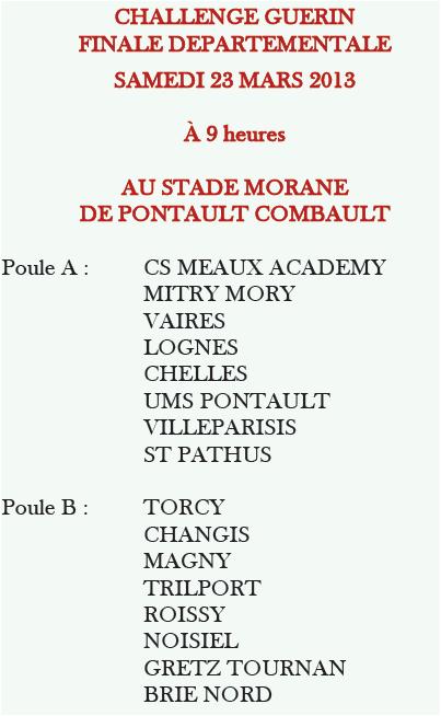 Challenge Guerin Finale Départementale U13