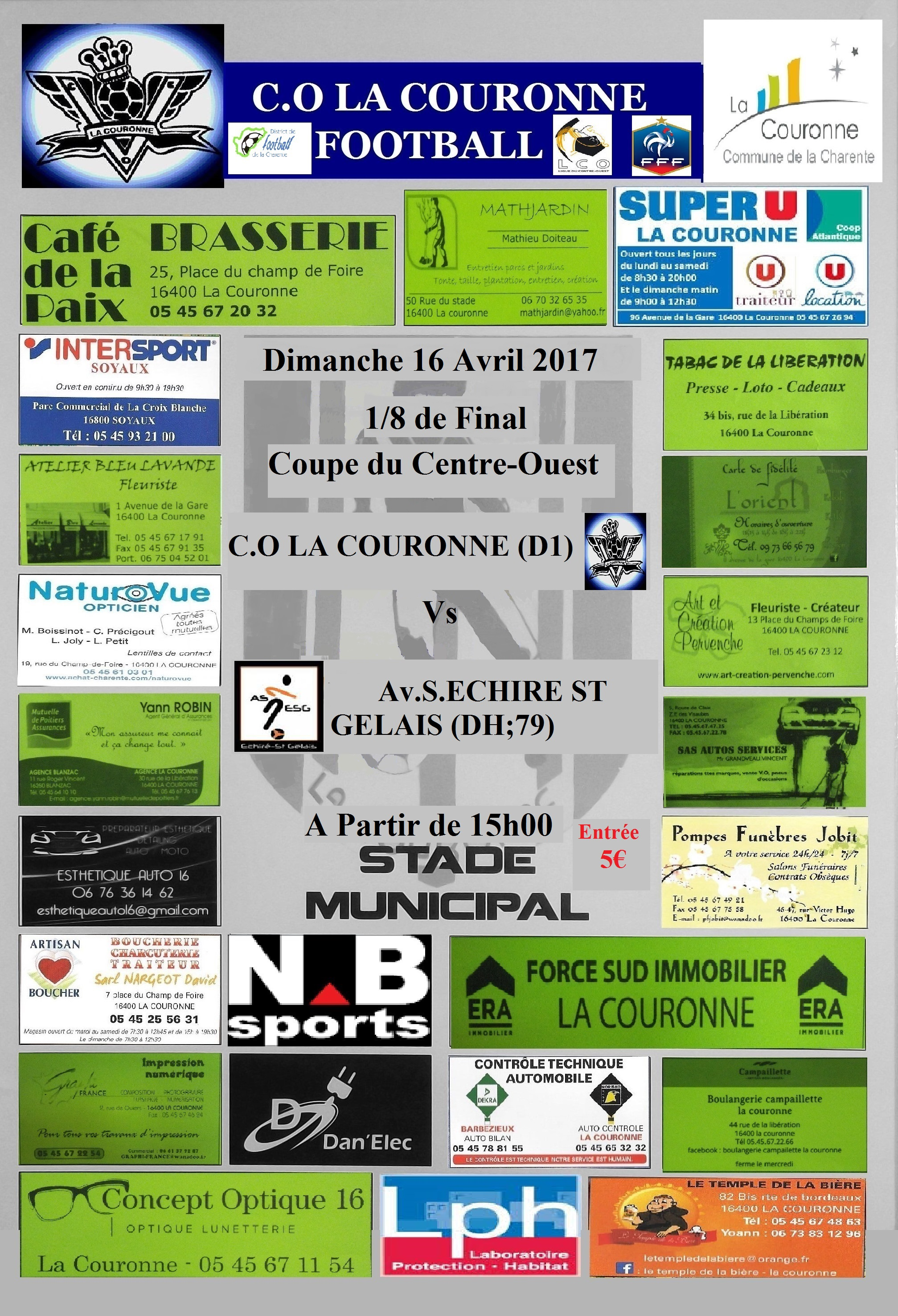 Actualit 8 me de final de la coupe du centre ouest club football coc football la couronne - Resultat coupe du centre ouest ...