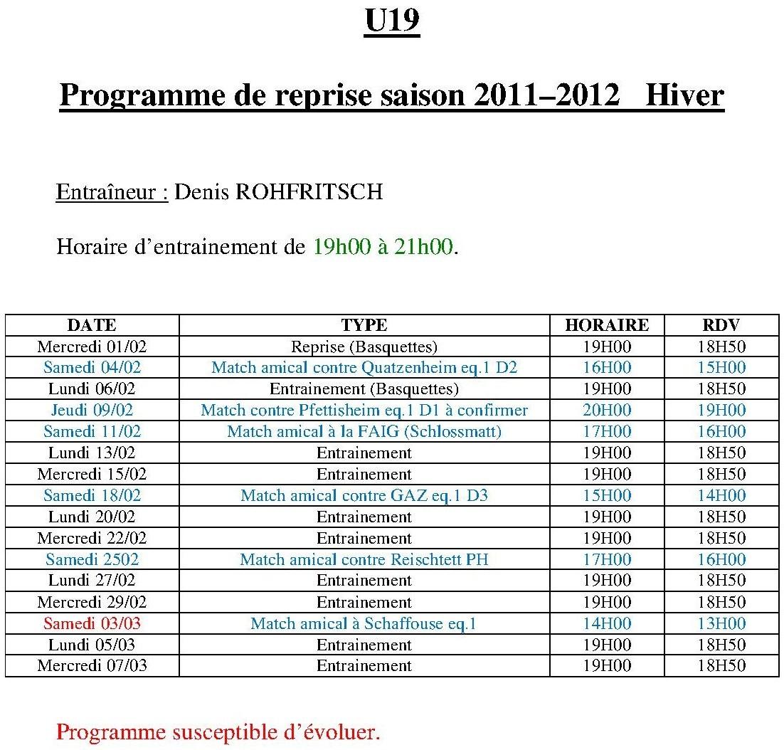 Prog U19 hiver 2012
