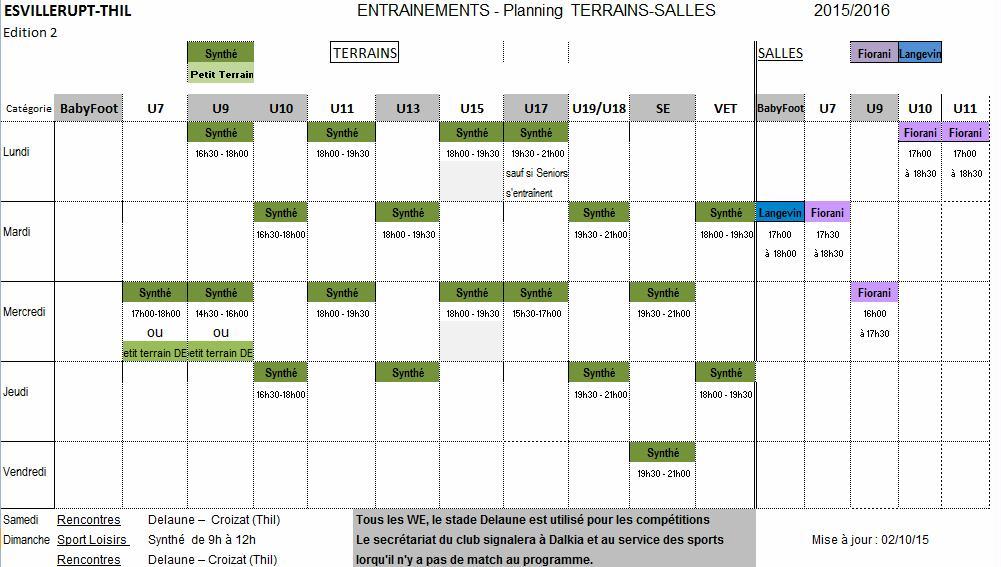 Planning Entrainnements