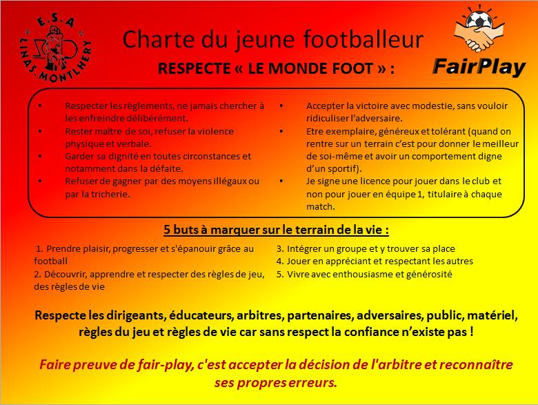 charte du jeune footballeur - club football esalm foot