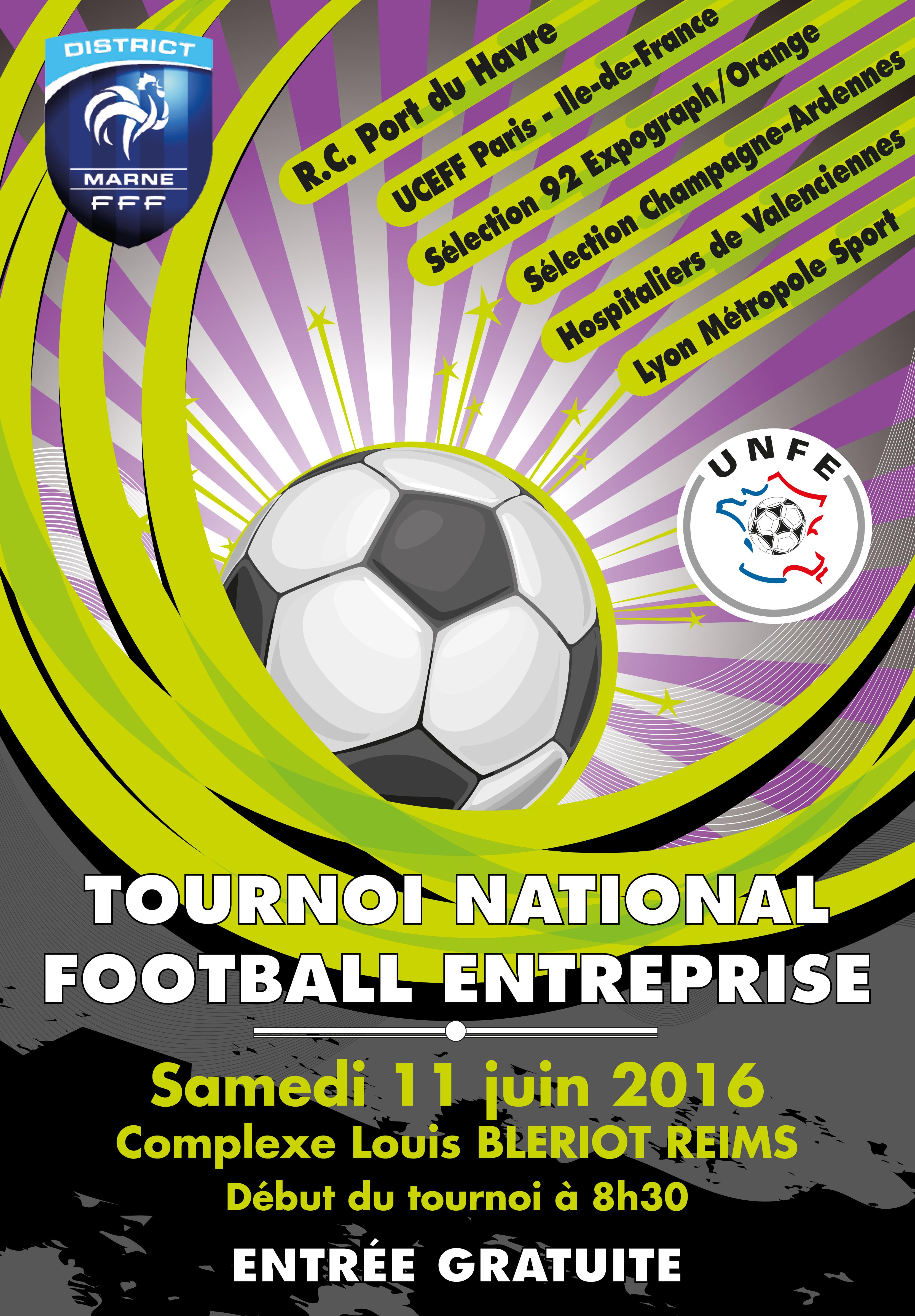 Affiche du tournoi football entreprise 2016