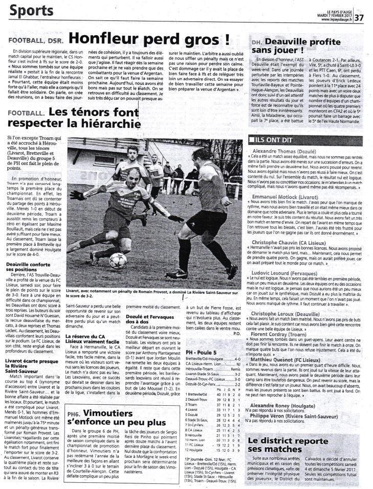 actualit presse article du mardi 7 f vrier 2017 club football dozul football club. Black Bedroom Furniture Sets. Home Design Ideas