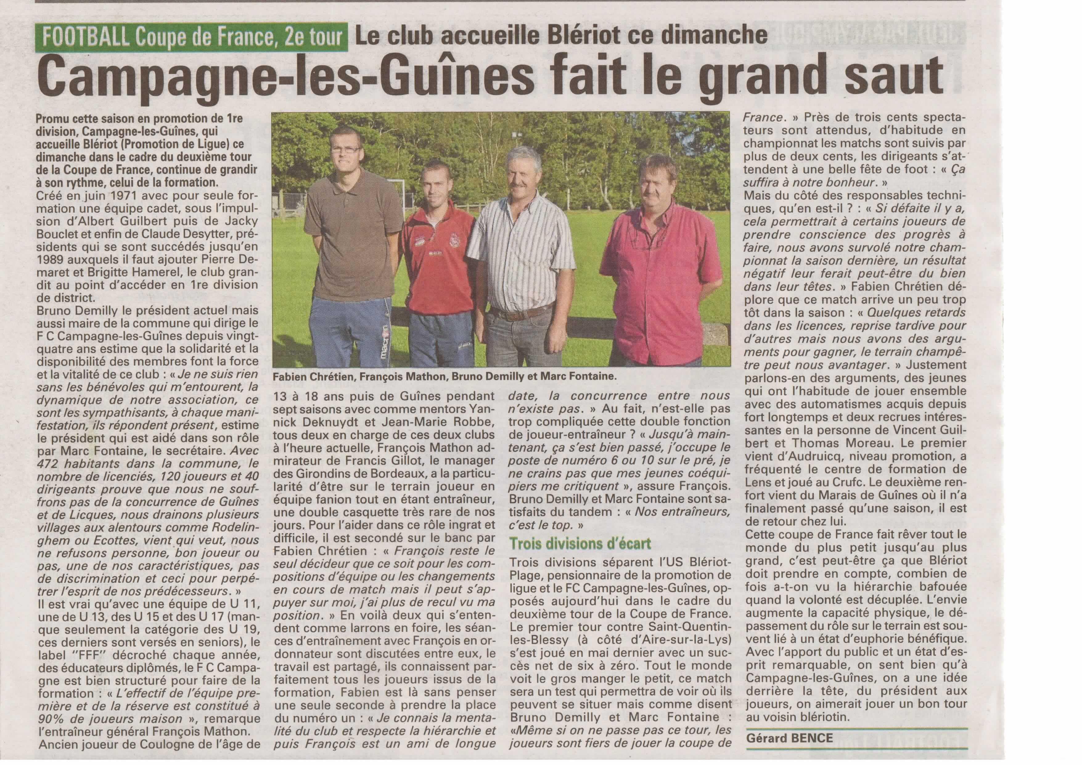 2 me tour de la coupe de france 2012 2013 club football fc campagne les guines footeo - Coupe de france 2012 2013 ...