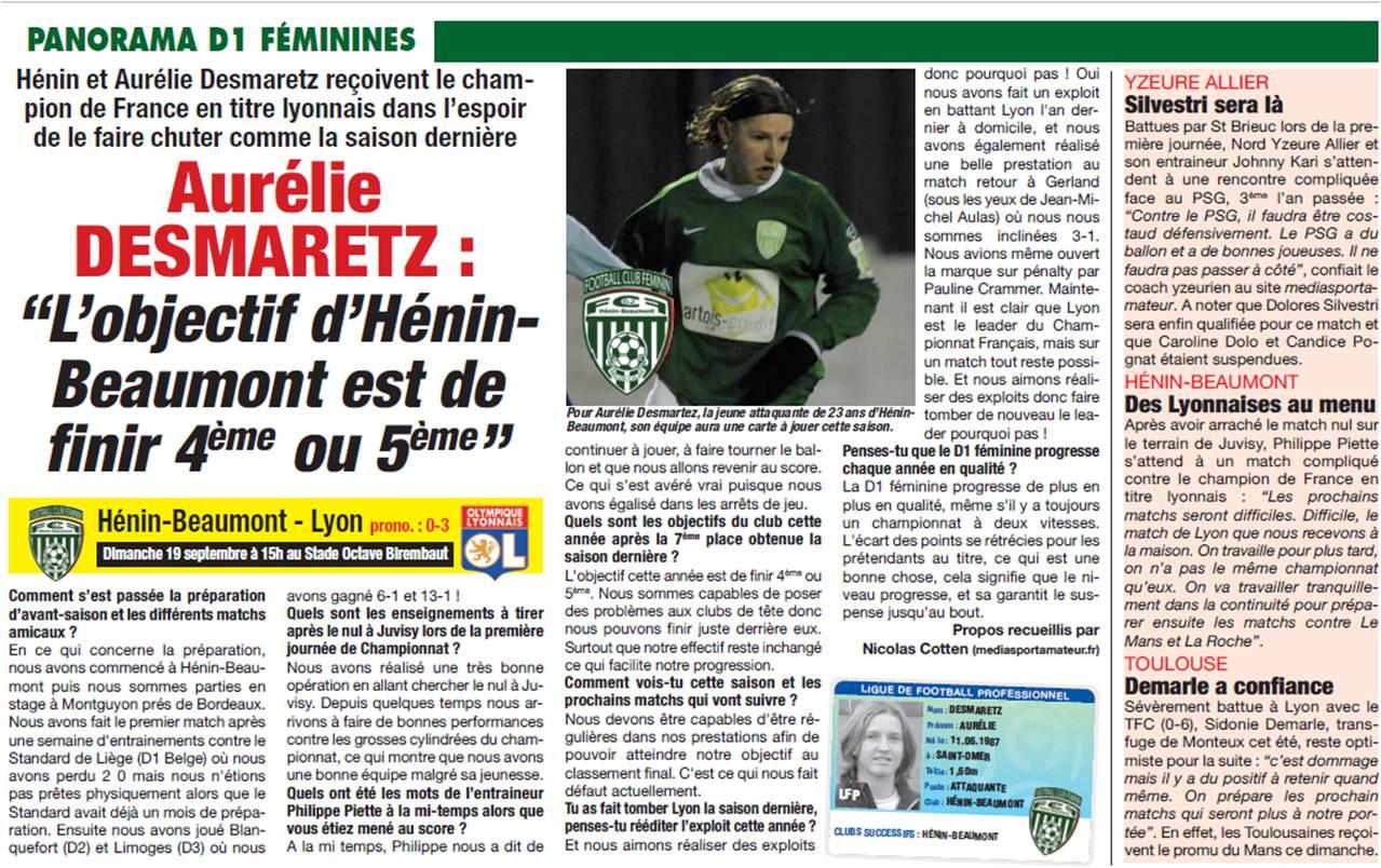 Aurelie Desmaretz Foot Hebdo