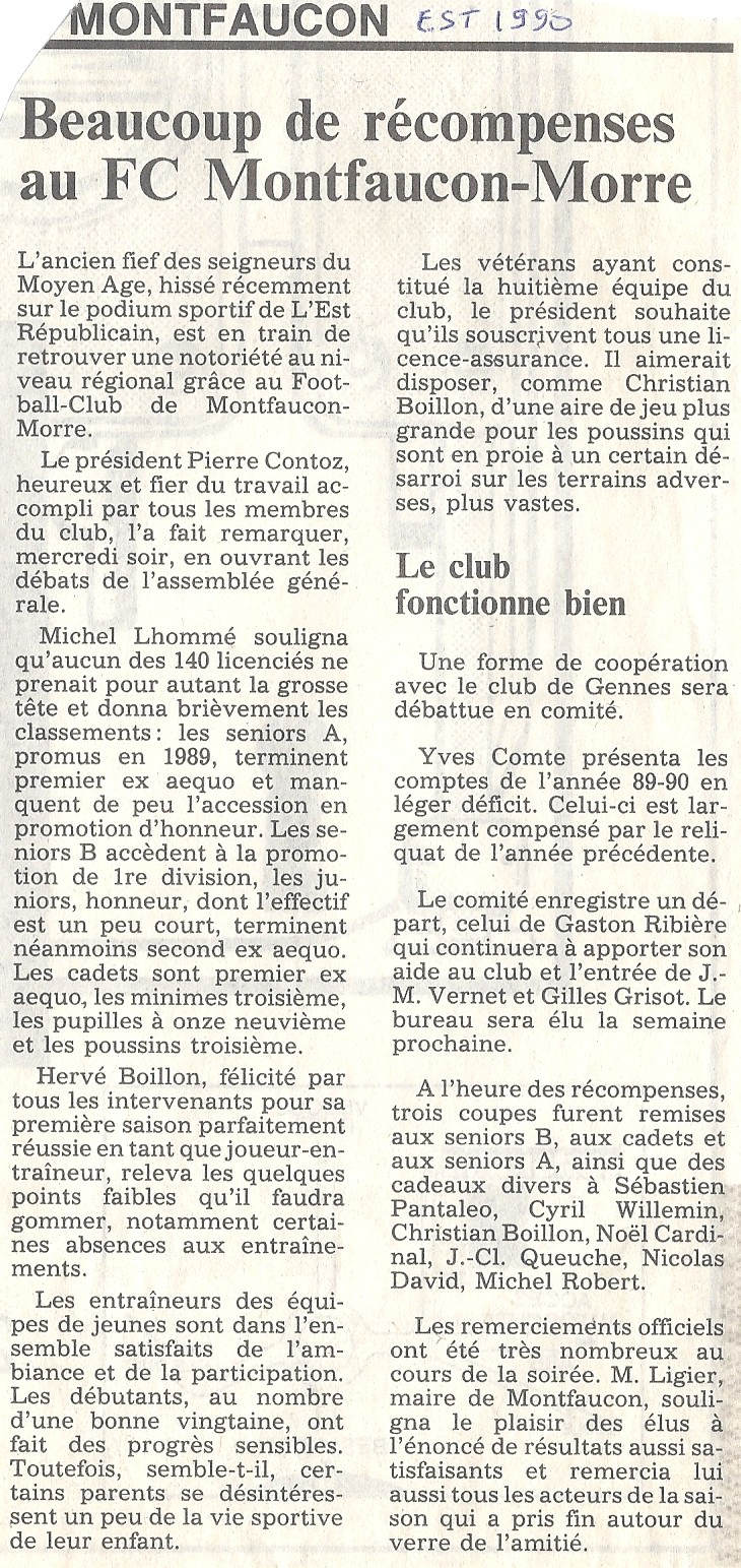 01/06/1990 - Beaucoup de récompenses au FC Montfaucon - Morre