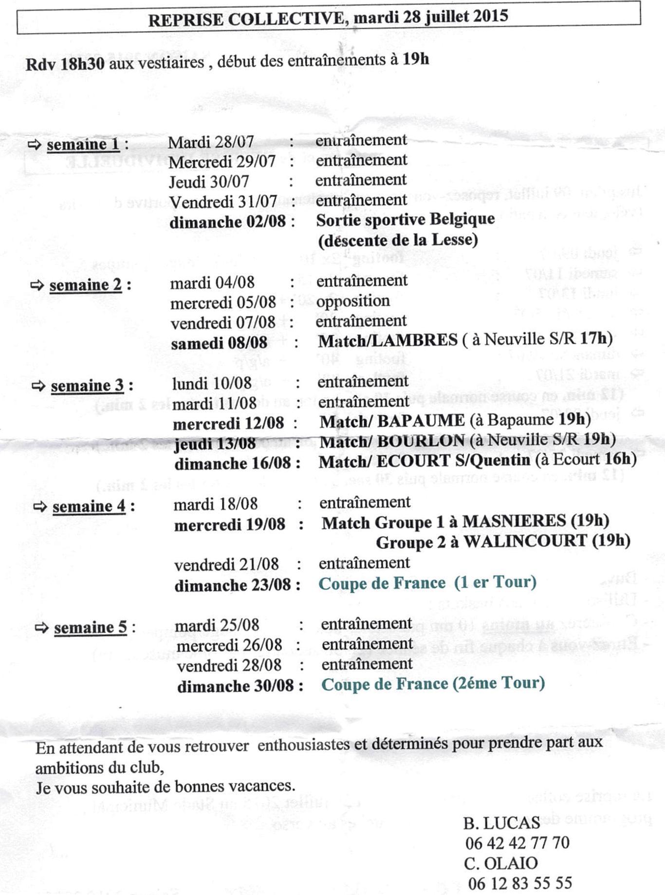 Seances entrainements SENIORS A et B