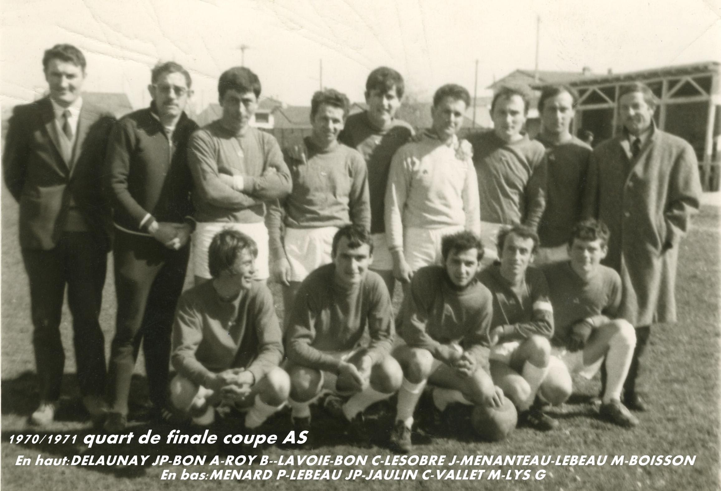 1970-1971- Quart de finale Coupe Aunis -Saintonge