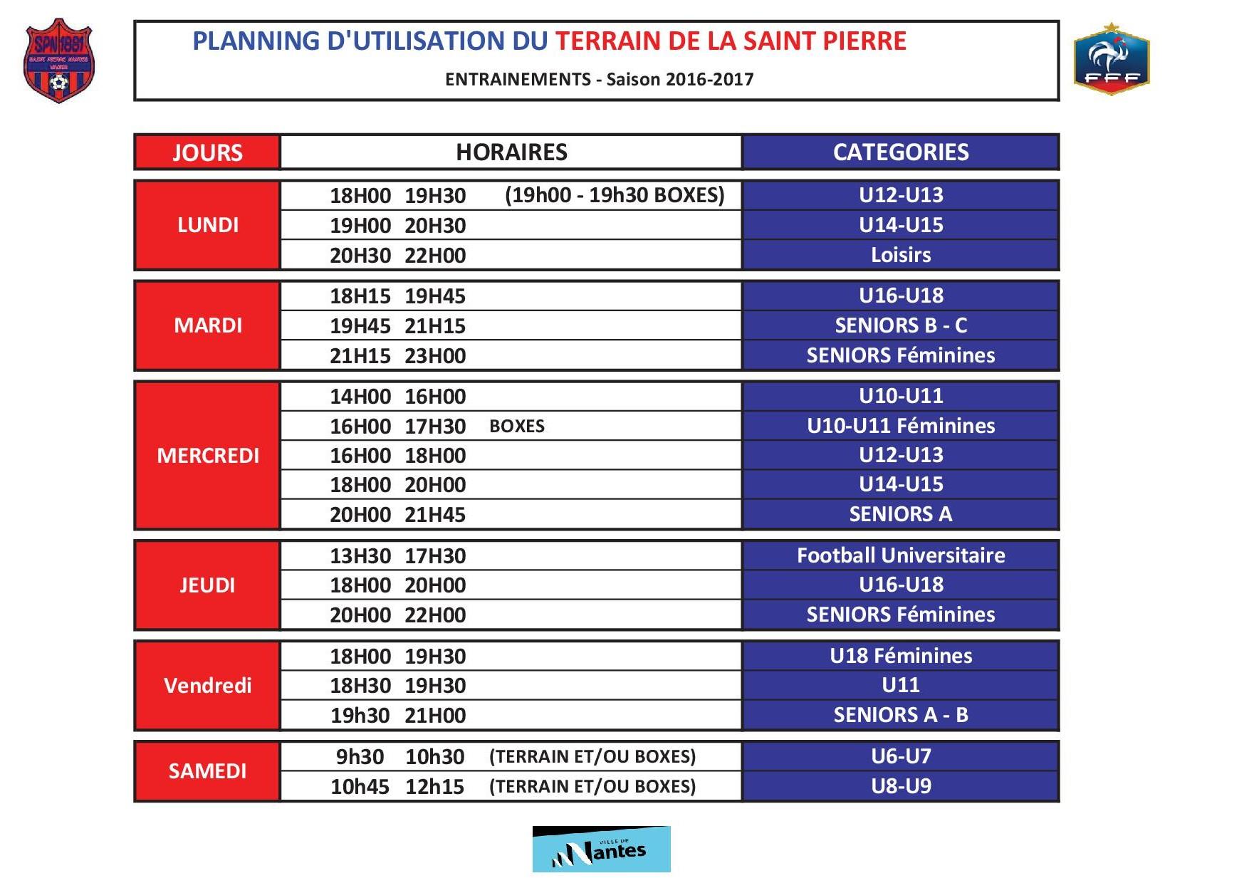 Planning entrainement Saison 2016-2017