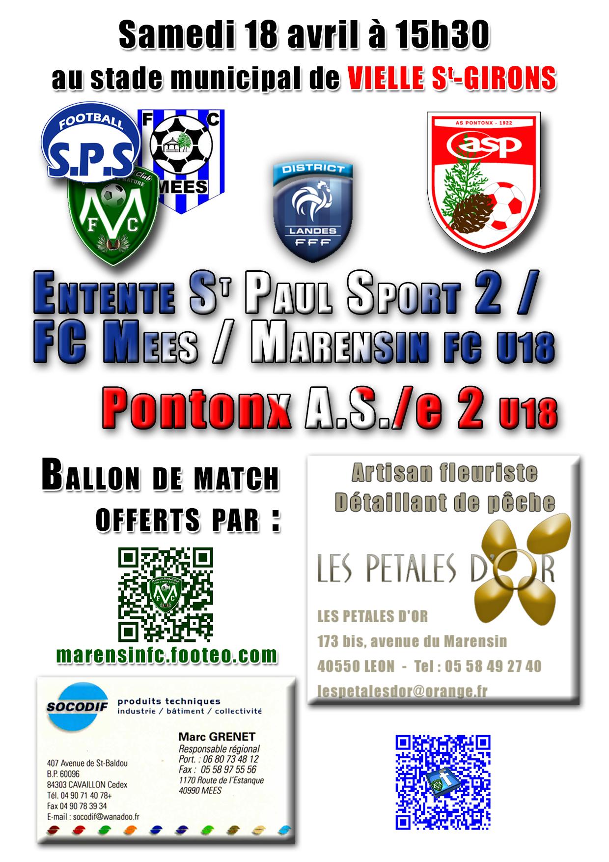 U18 match Samedi 18 avril à 15h30 à VIELLE SAINT-GIRONS