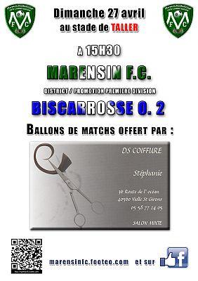 affiche ballon de match Marensin FC DS Coiffure à VIELLE