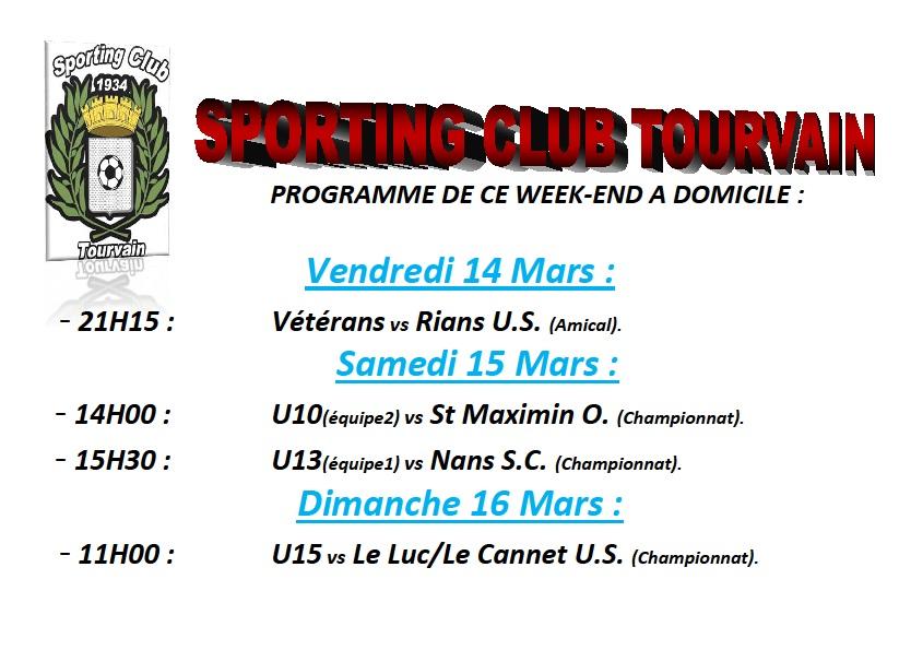 Programme week-end du 14 au 16 Mars.
