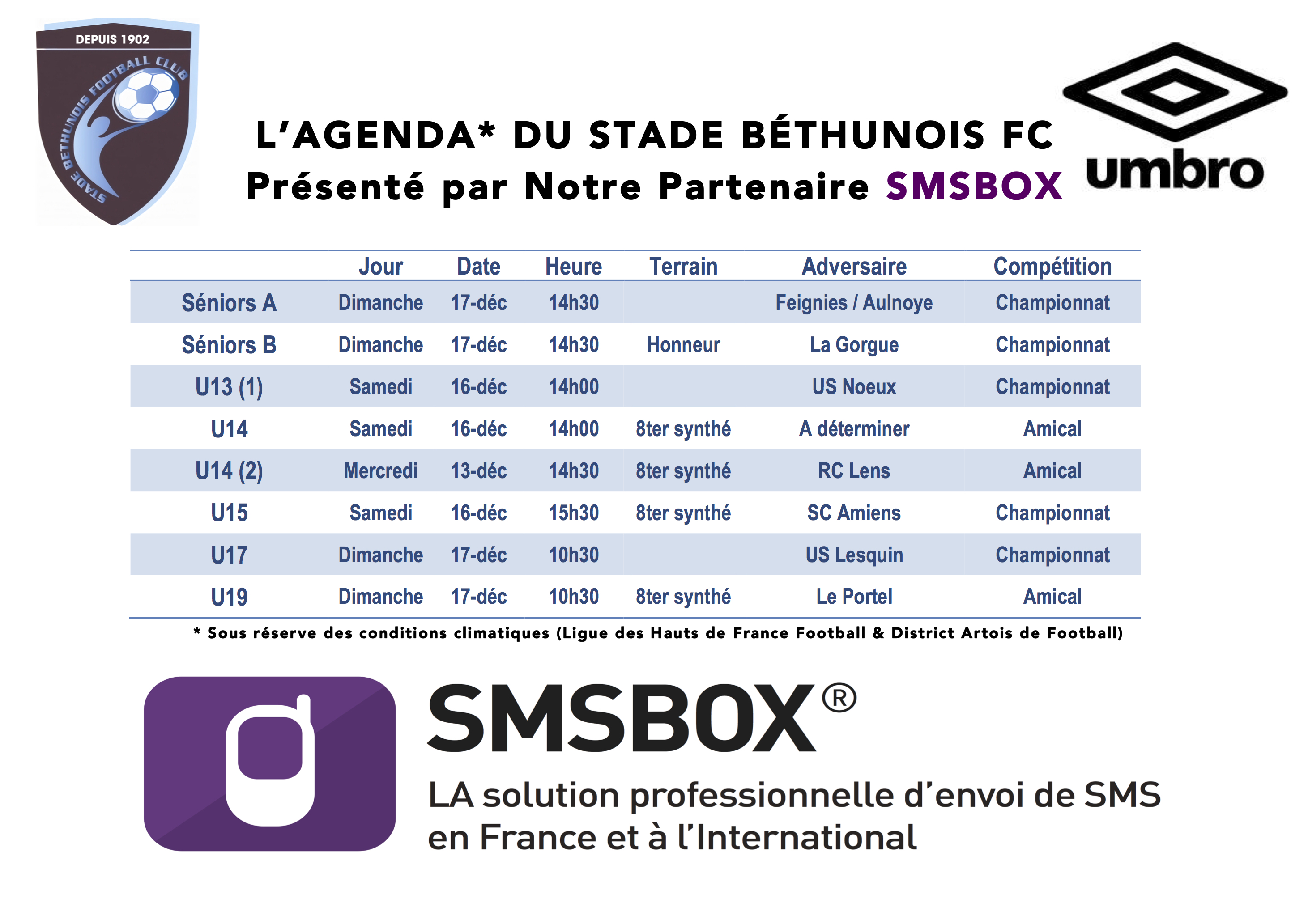 Agenda du week end SMSBOX