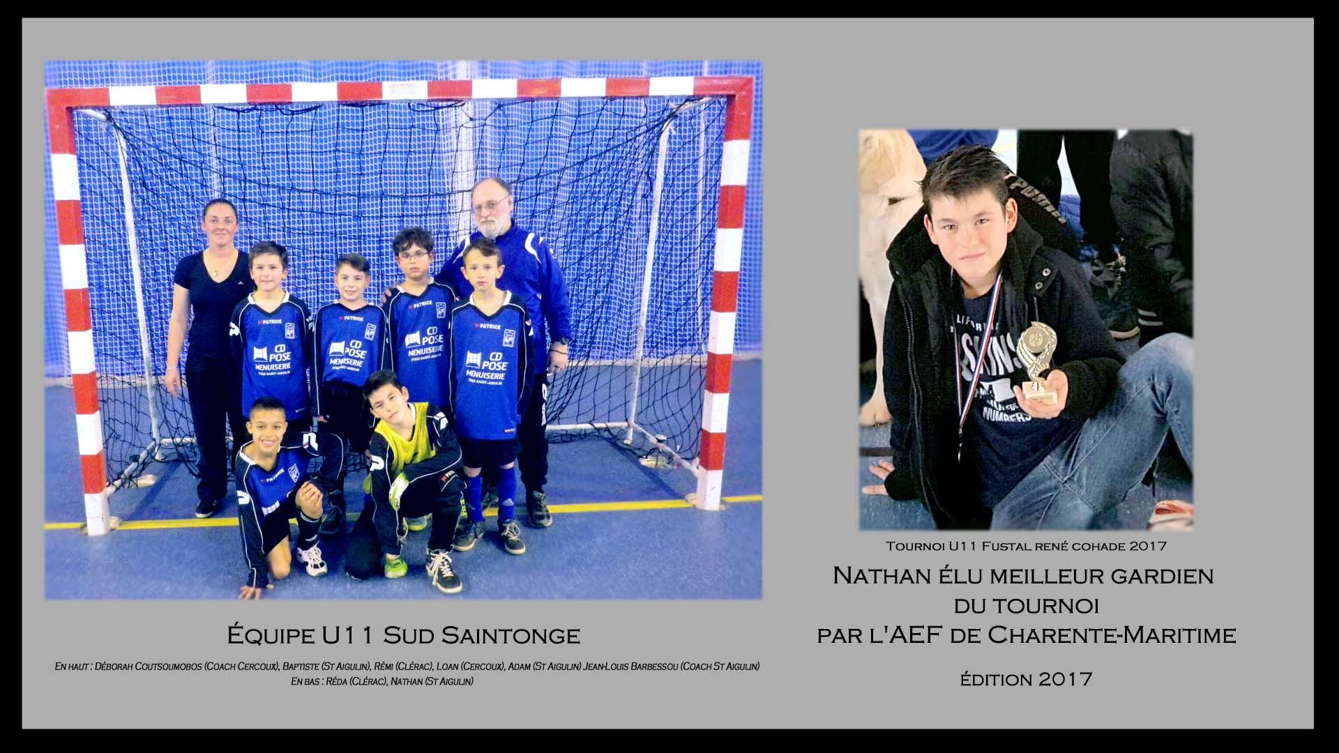 Nathan élu MEILLEUR GARDIEN TOURNOI FUSTAL U11 René COHADE
