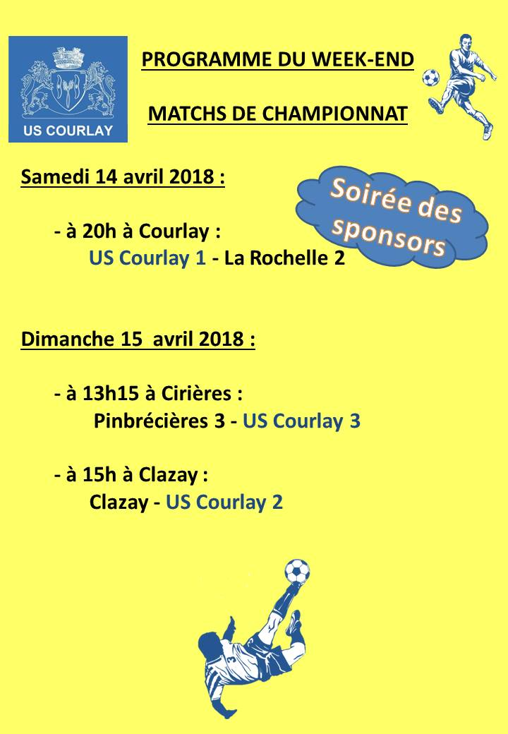 2018_04_12 Matchs_au_programme_du_week_end